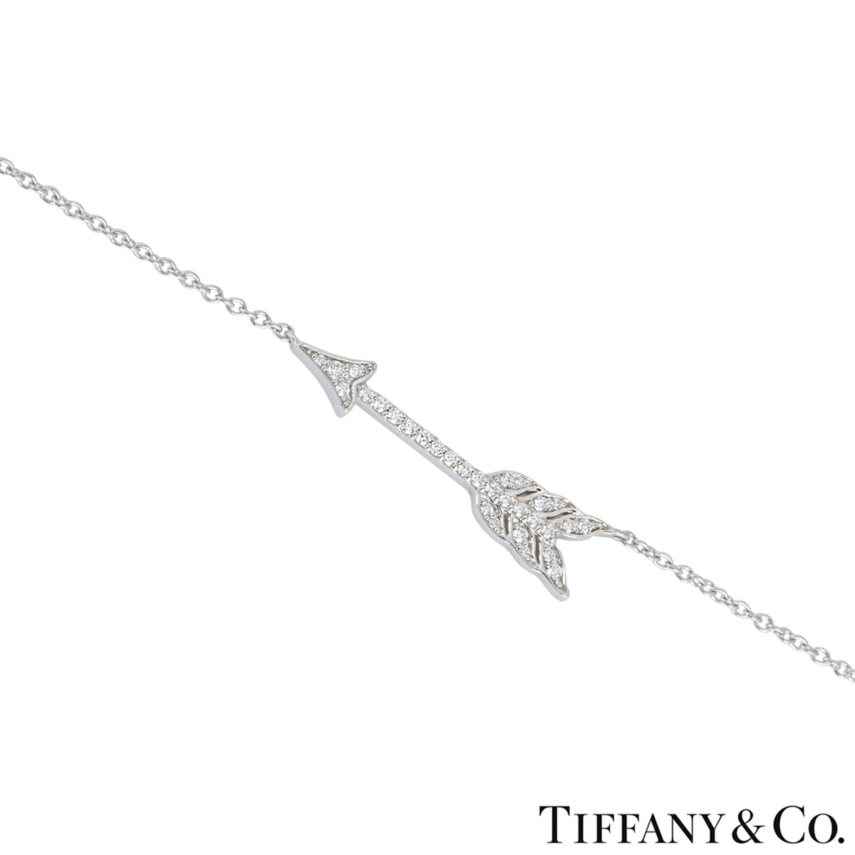 Tiffany & Co. Platinum Diamond Arrow Hearts Pendant